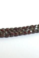 Glasschliffperlen feuerpoliert 4mm, Farbe 75 Red Opal Silver Travertin