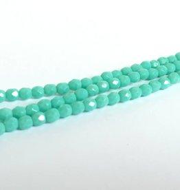 Glasschliffperlen feuerpoliert 4mm, Farbe 48 Turquoise Opaque
