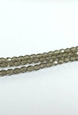 Glasschliffperlen feuerpoliert 4mm, Farbe 06 Black Diamond