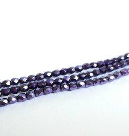 Glasschliffperlen feuerpoliert 4mm, Farbe 84 Metallic Dark Violet