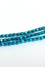 Glasschliffperlen feuerpoliert 4mm, Farbe 32 Metallic Aqua