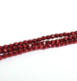 Glasschliffperlen feuerpoliert 4mm, Farbe 77 Metallic Cranberry