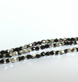 Glasschliffperlen feuerpoliert 4mm, Farbe 13 Jet/Silver
