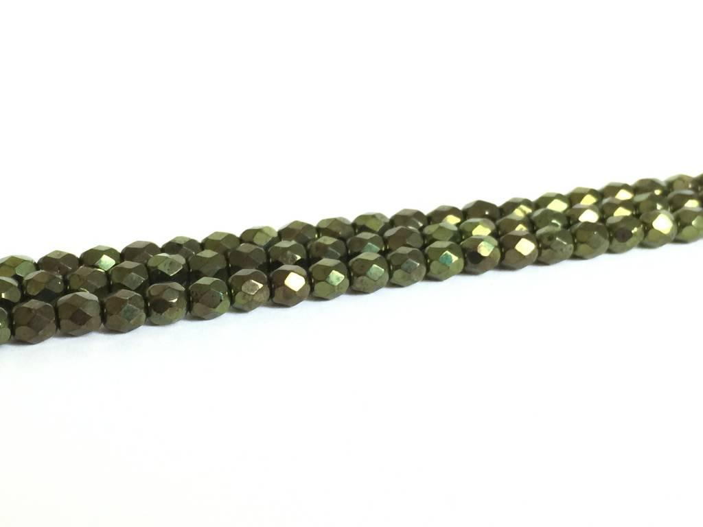 Glasschliffperlen feuerpoliert 4mm, Farbe 39 Metallic Dark Olive