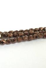 Glasschliffperlen feuerpoliert 4mm, Farbe 67 Dark Bronze