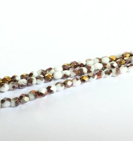 Glasschliffperlen feuerpoliert 4mm, Farbe 04 Chalk White Capri Gold