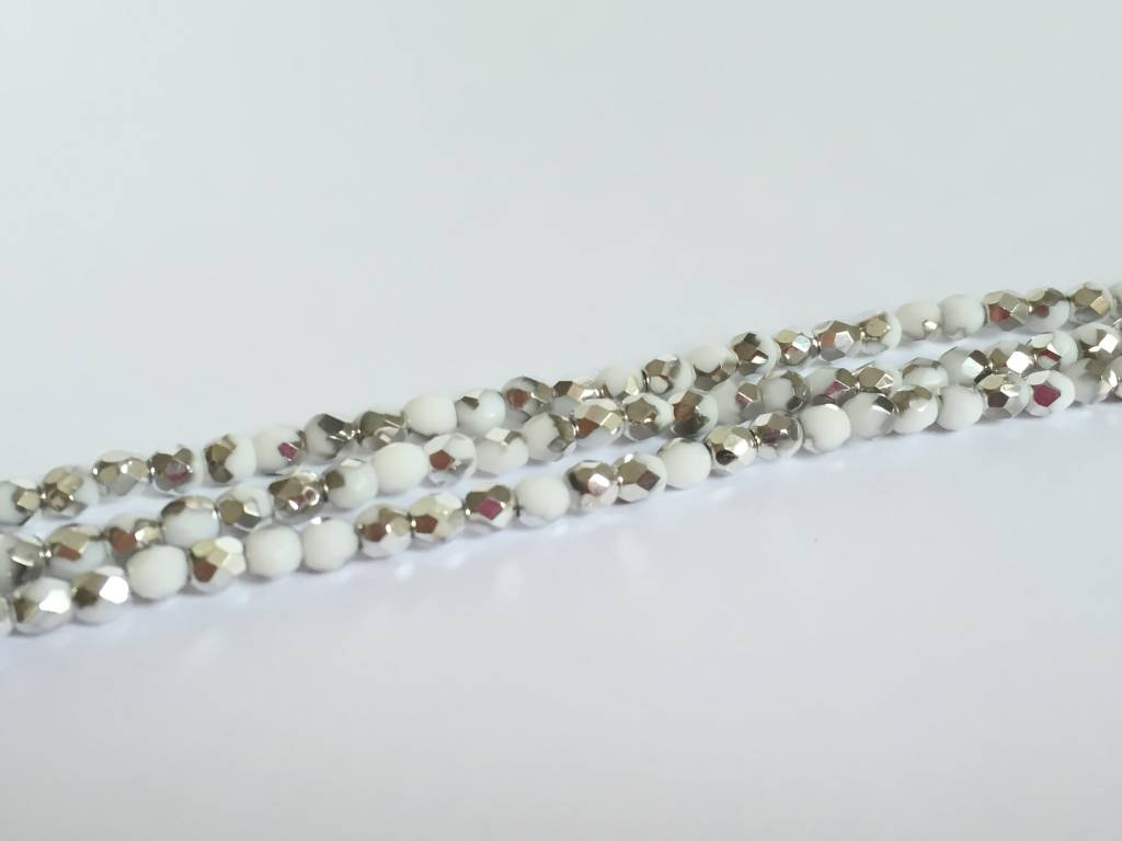 Glasschliffperlen feuerpoliert 4mm, Farbe 03 Chalk White Silver