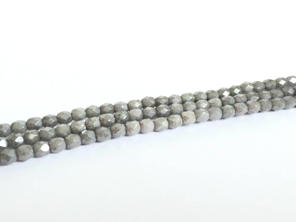 Glasschliffperlen feuerpoliert 4mm, Farbe 20 Chalky Grey