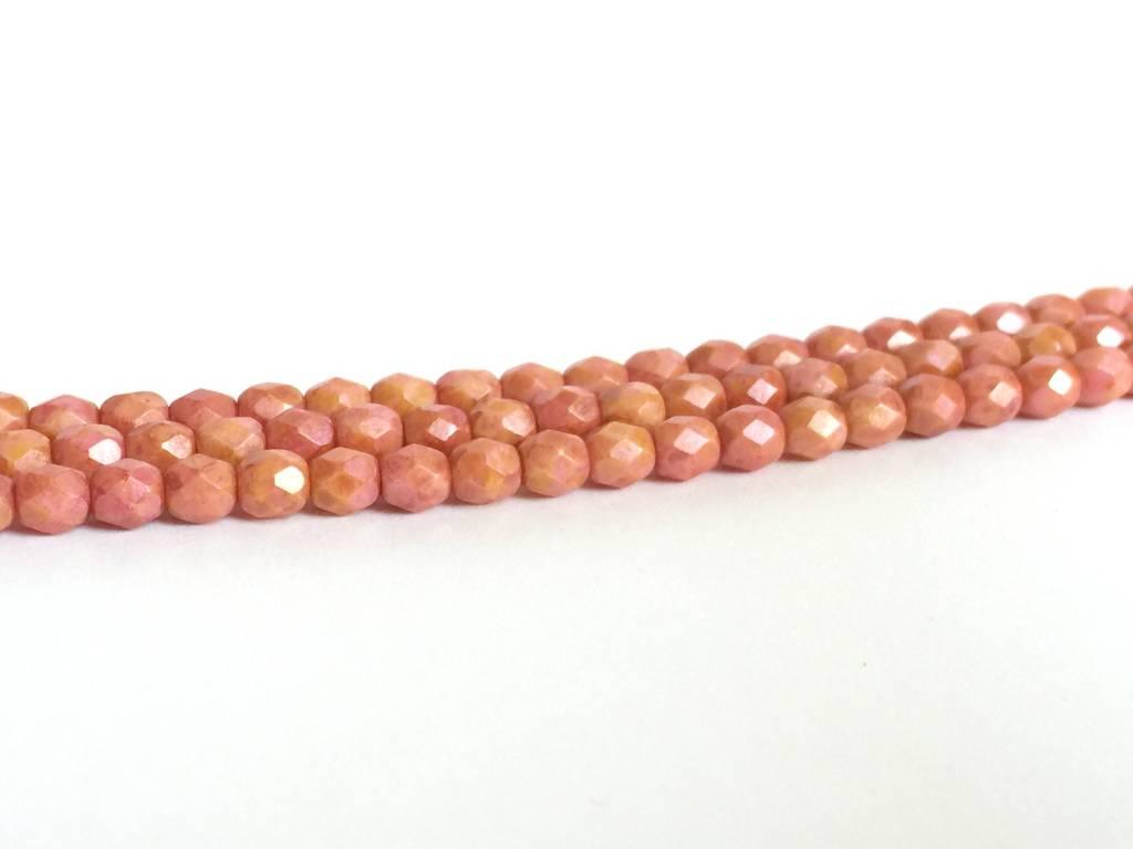 Glasschliffperlen feuerpoliert 4mm, Farbe 71 Peach Rose Blush