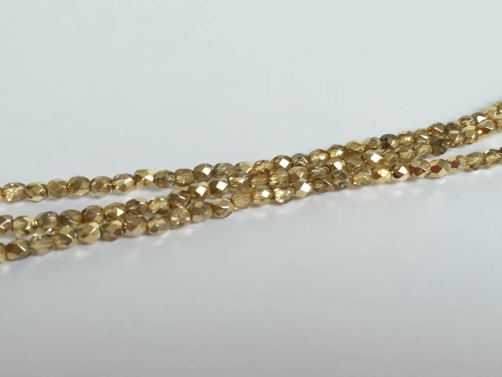 Glasschliffperlen feuerpoliert 4mm, Farbe 63 Bronze Ice
