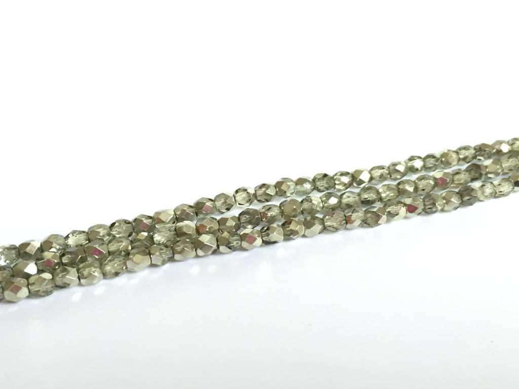 Glasschliffperlen feuerpoliert 4mm, Farbe 55 Light Olive Ice