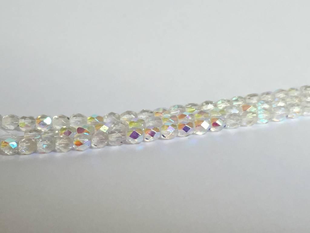 Glasschliffperlen feuerpoliert 4mm, Farbe 10 Crystal AB