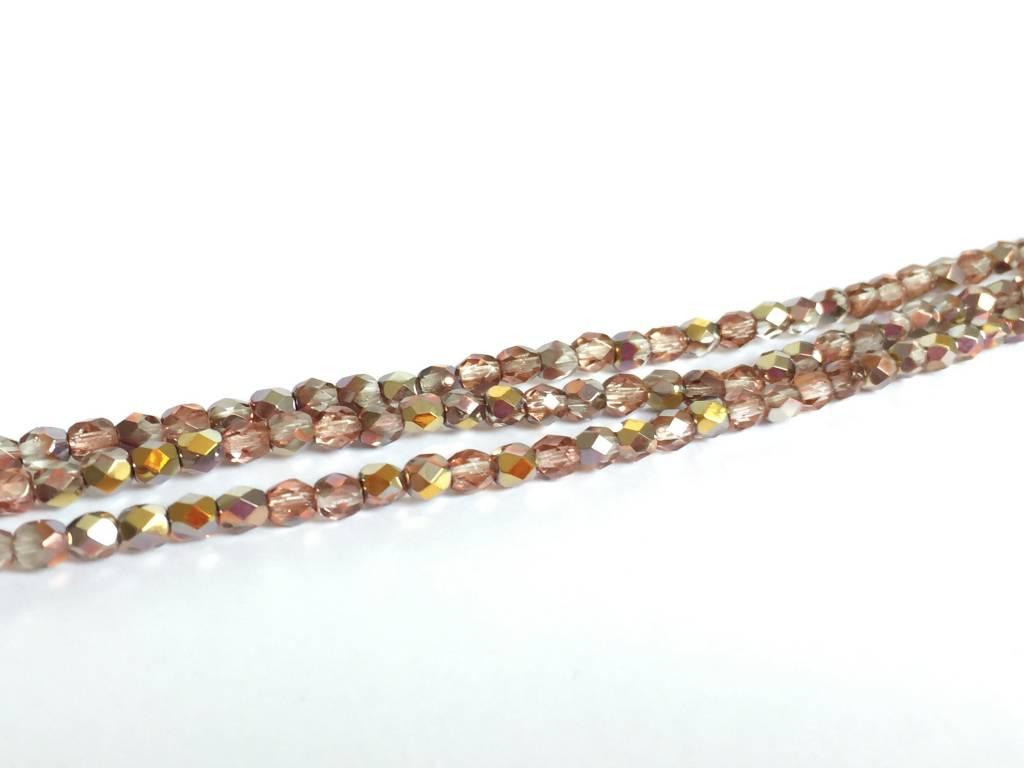 Glasschliffperlen feuerpoliert 4mm, Farbe 73 Vintage Rosy Capri Gold