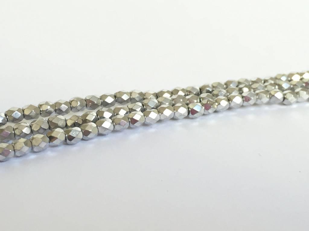 Glasschliffperlen feuerpoliert 4mm, Farbe 12 Silver