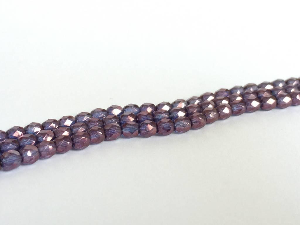 Glasschliffperlen feuerpoliert 4mm, Farbe 100 Violet Luster