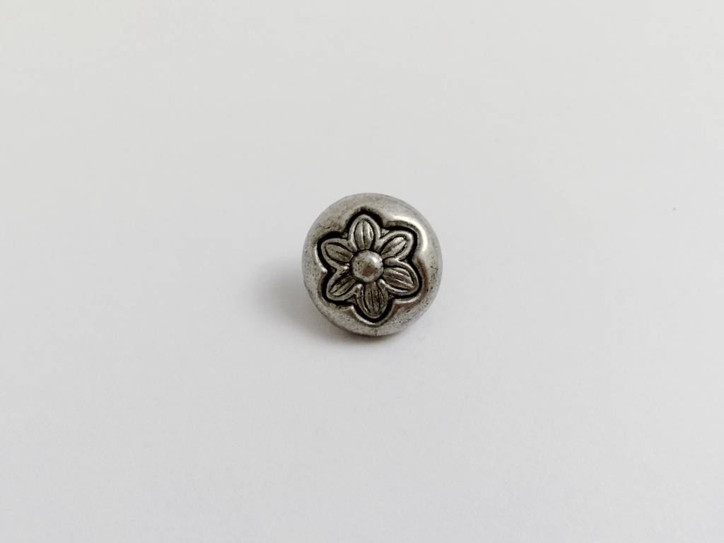 "Metallknopf ""Flower"", altsilberfarben"