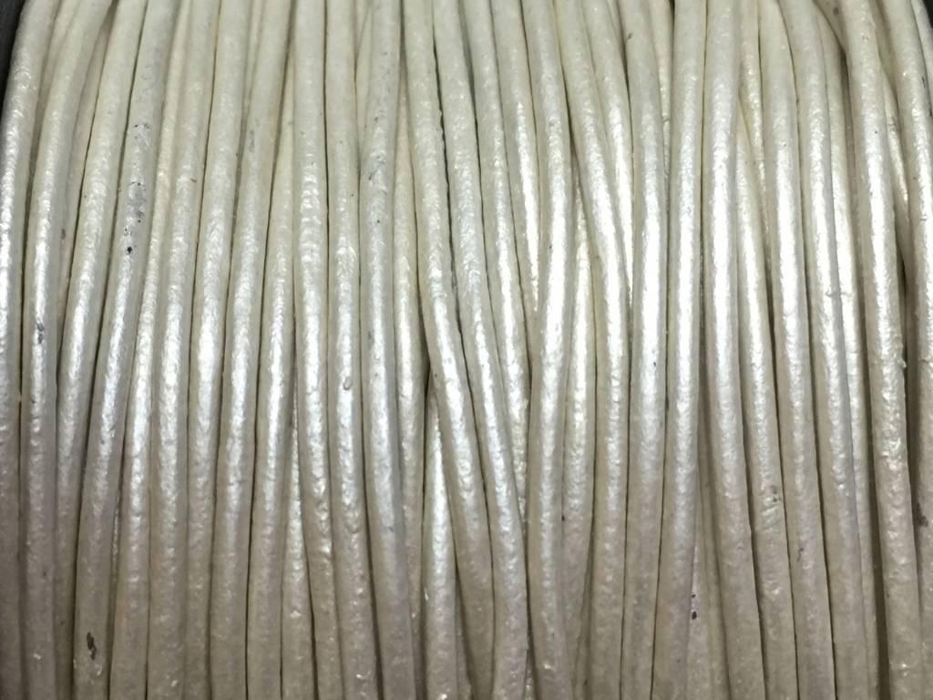 Lederkordel rund Ø 1 mm, metallic pearl