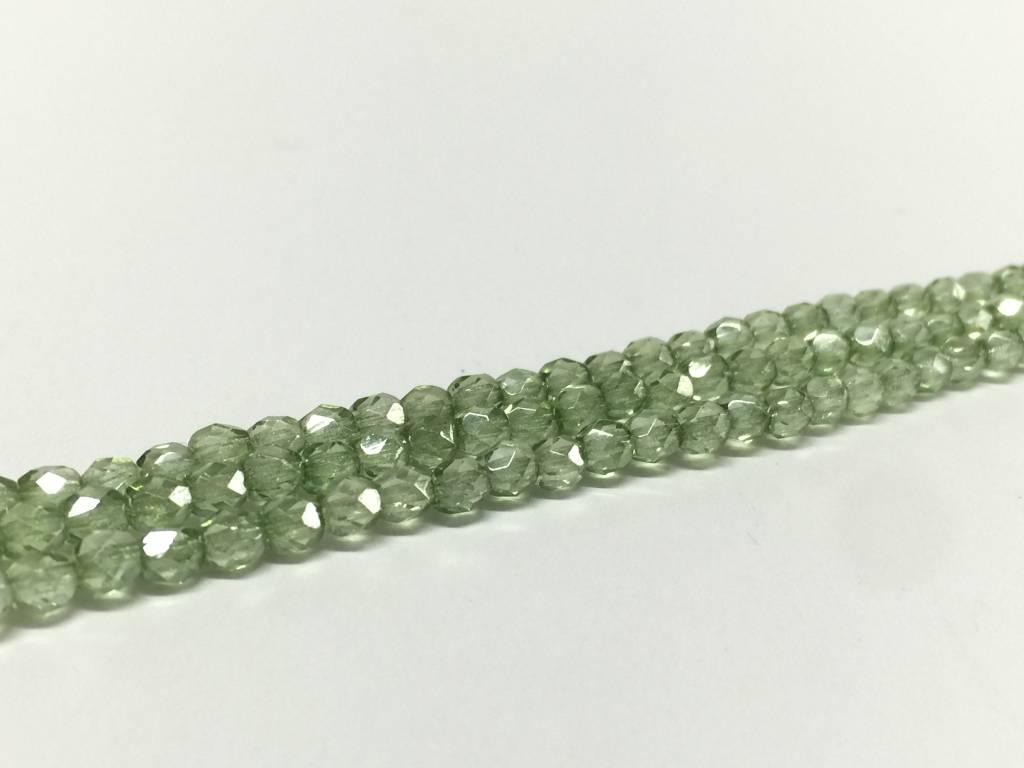 Glasschliffperlen feuerpoliert 4mm, Farbe 53 Peridot Luster