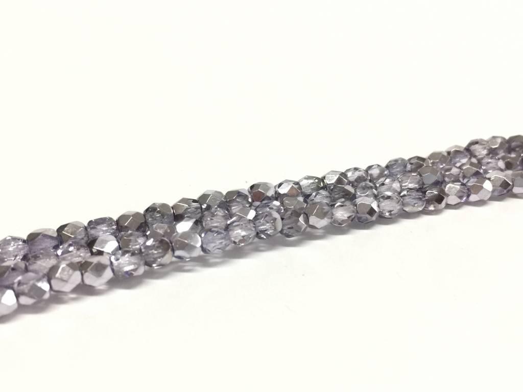 Glasschliffperlen feuerpoliert 4mm, Farbe 90 Violet Ice