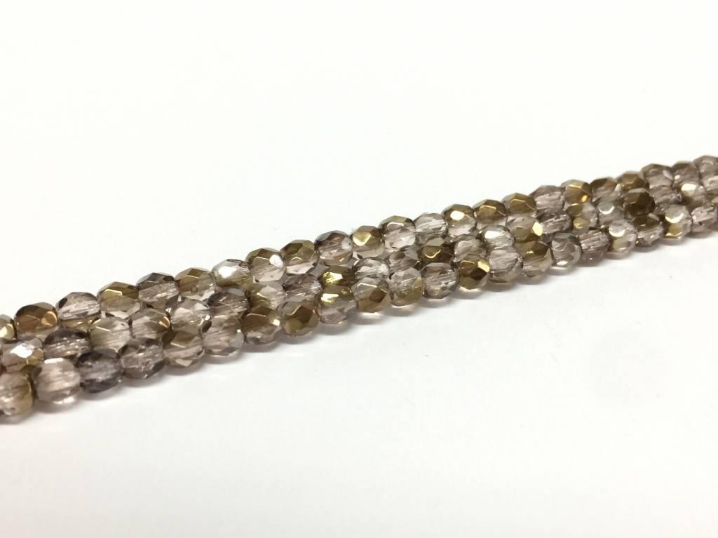 Glasschliffperlen feuerpoliert 4mm, Farbe 62 Smokey Topaz Bronze