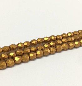Glasschliffperlen feuerpoliert 4mm, Farbe 60 Oriental Gold