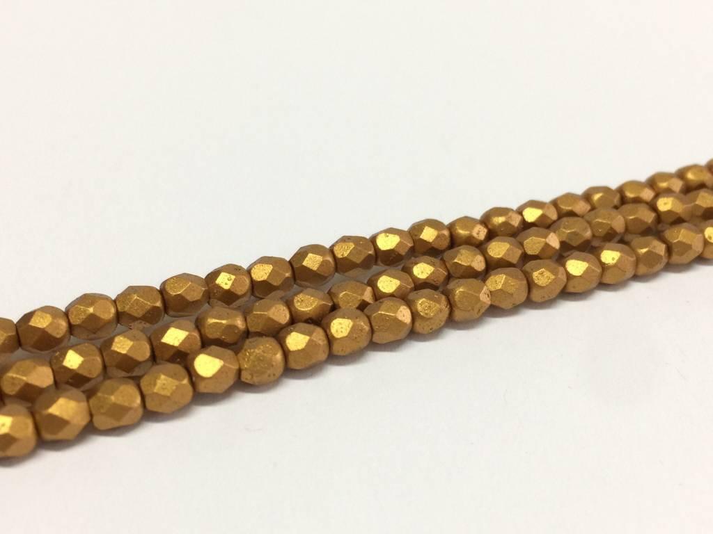 Glasschliffperlen feuerpoliert 4mm, Farbe 60 Oriantal Gold