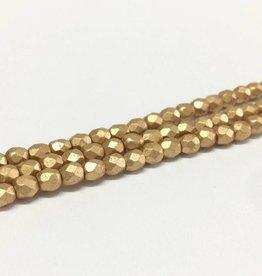 Glasschliffperlen feuerpoliert 4mm, Farbe 64 Gold matt