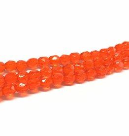 Glasschliffperlen feuerpoliert 4mm, Farbe 80 Orange