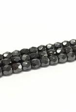 Glasschliffperlen feuerpoliert 4mm, Farbe 19 Hematite