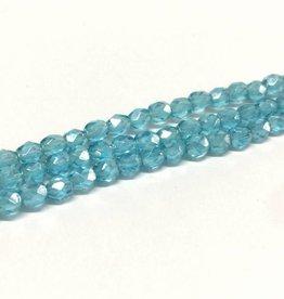 Glasschliffperlen feuerpoliert 4mm, Farbe 37 Aqua Light Luster