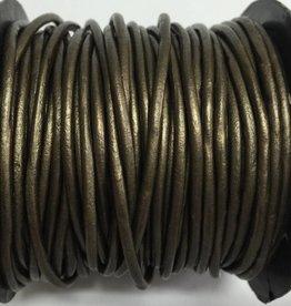 Lederkordel rund Ø 2 mm, metallic olive