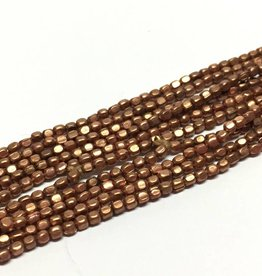 Metallperlen - Square Brass Beads 2 mm, copper plated