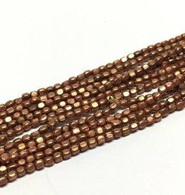 Metallperlen - Square Brass Beads 2 mm, copper plated