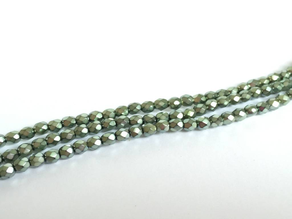Glasschliffperlen feuerpoliert 4mm, Farbe 54 Metallic Seafoam