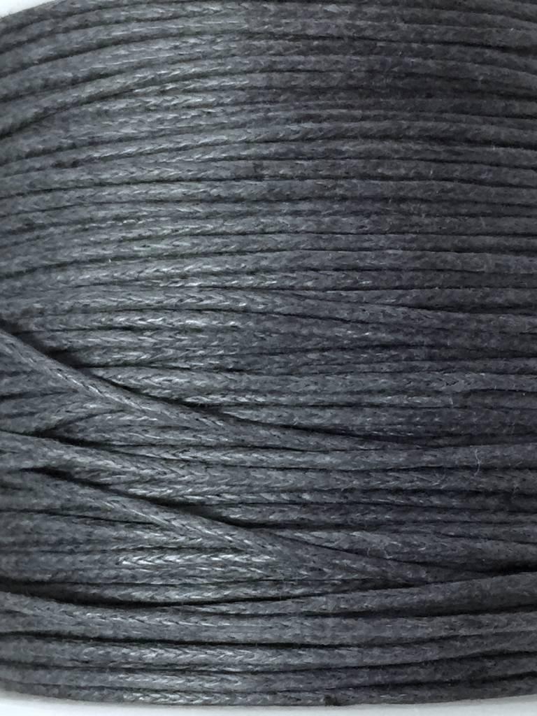 gewachste Baumwollkordel 1mm, Farbe 02 dunkelgrau