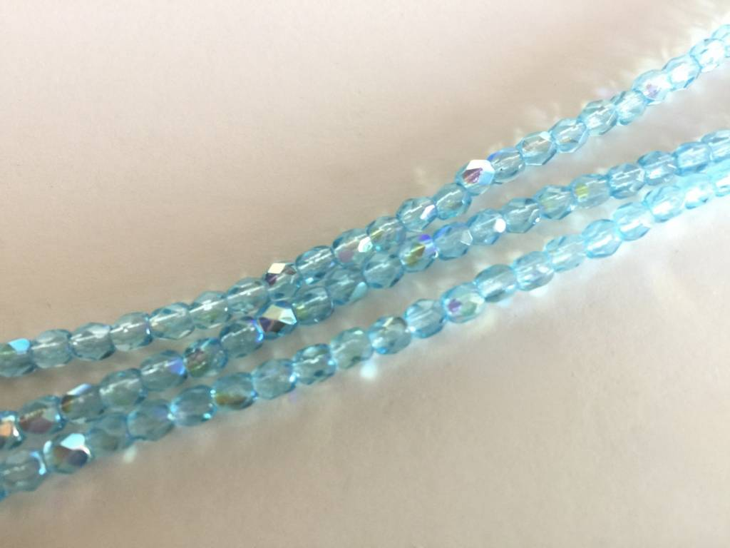 Glasschliffperlen feuerpoliert 4mm, Farbe 371 Aqua Light AB