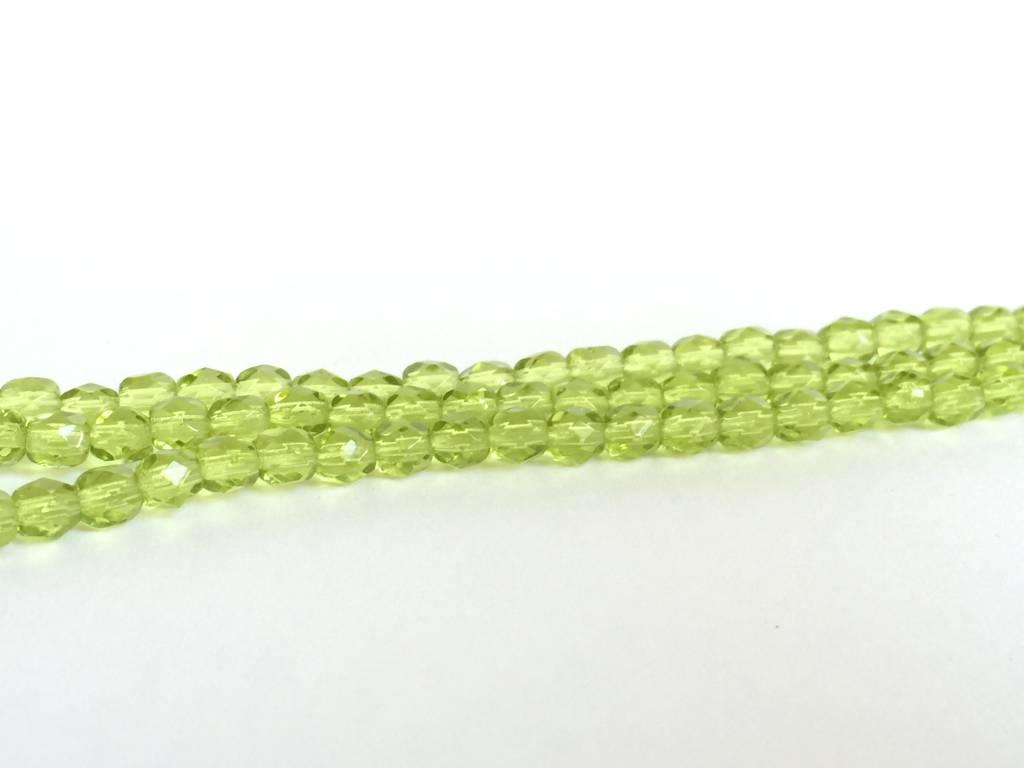 Glasschliffperlen feuerpoliert 4mm, Farbe 40 Olivine