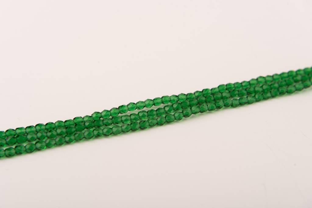 Glasschliffperlen feuerpoliert 4mm, Farbe 42 dark Green