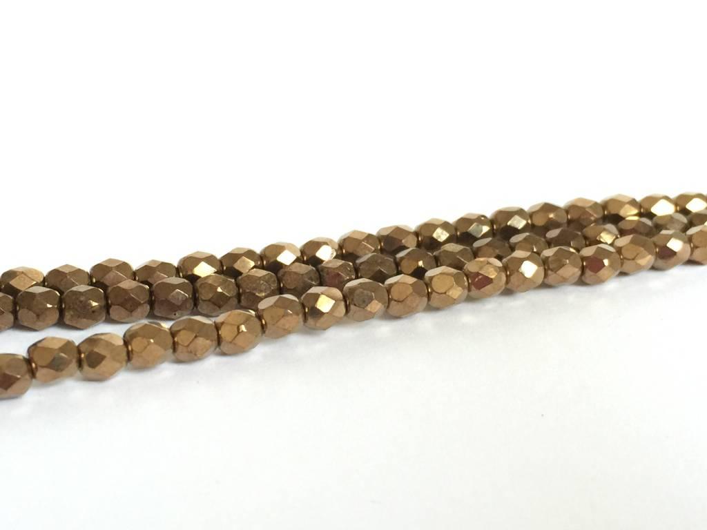 Glasschliffperlen feuerpoliert 4mm, Farbe 6111 Bronze