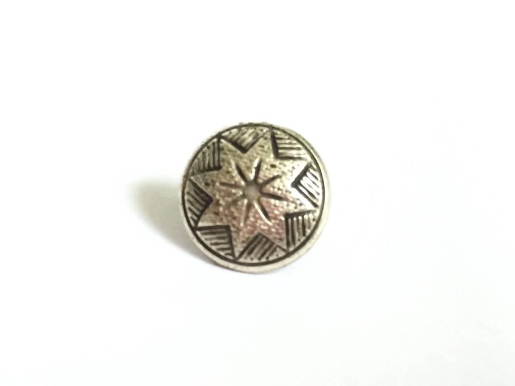 Metallknopf Stern gross, altsilber