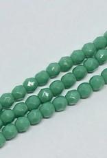 Glasschliffperlen feuerpoliert 4mm, Farbe dark green turquoise  opaque