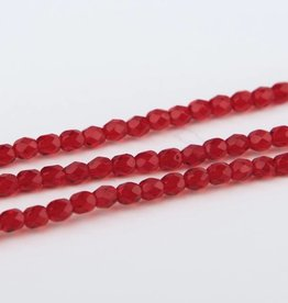 Glasschliffperlen feuerpoliert 4mm, Farbe Rot