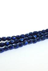 Glasschliffperlen feuerpoliert 4mm, Farbe 29 Metallic Night Blue