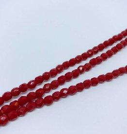 Glasschliffperlen feuerpoliert 4mm, Farbe Simply Red Opaque