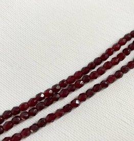Glasschliffperlen feuerpoliert 4mm, Farbe Garnet red