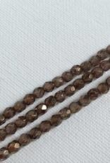 Glasschliffperlen feuerpoliert 4mm, Farbe  Crystal Brown Luster
