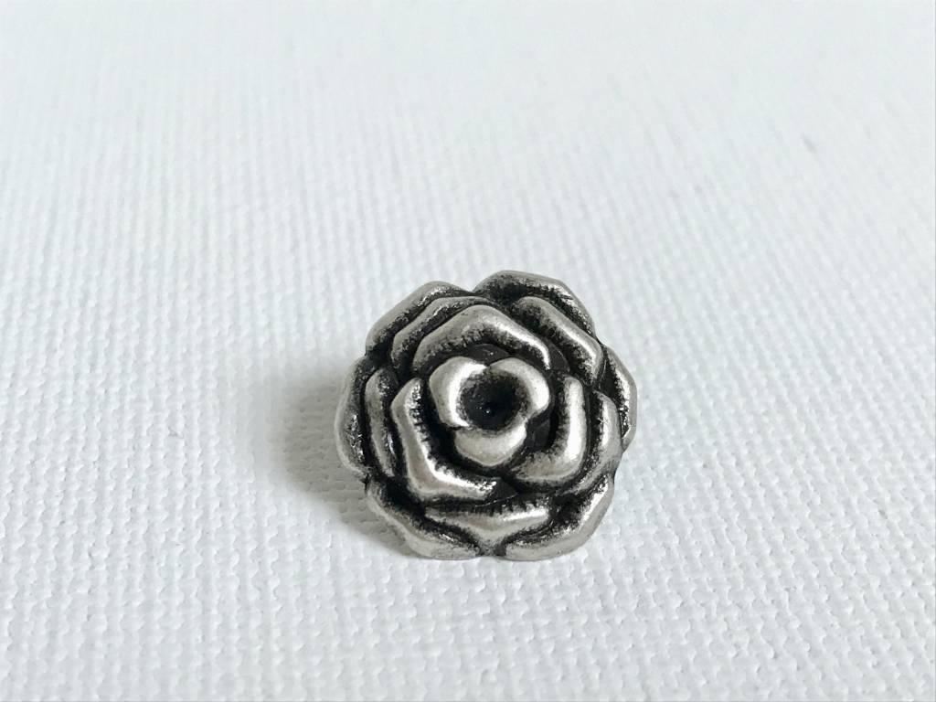 Metallknopf Rose  ø 15 mm, altsilberfarben