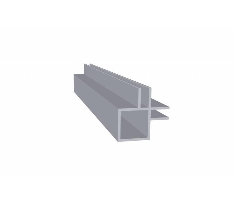 Aluminium Koker 20 x 20 x 1,5 mm - 2 Flens (binnenkant) 4mm - 30 meter in 3000 mm