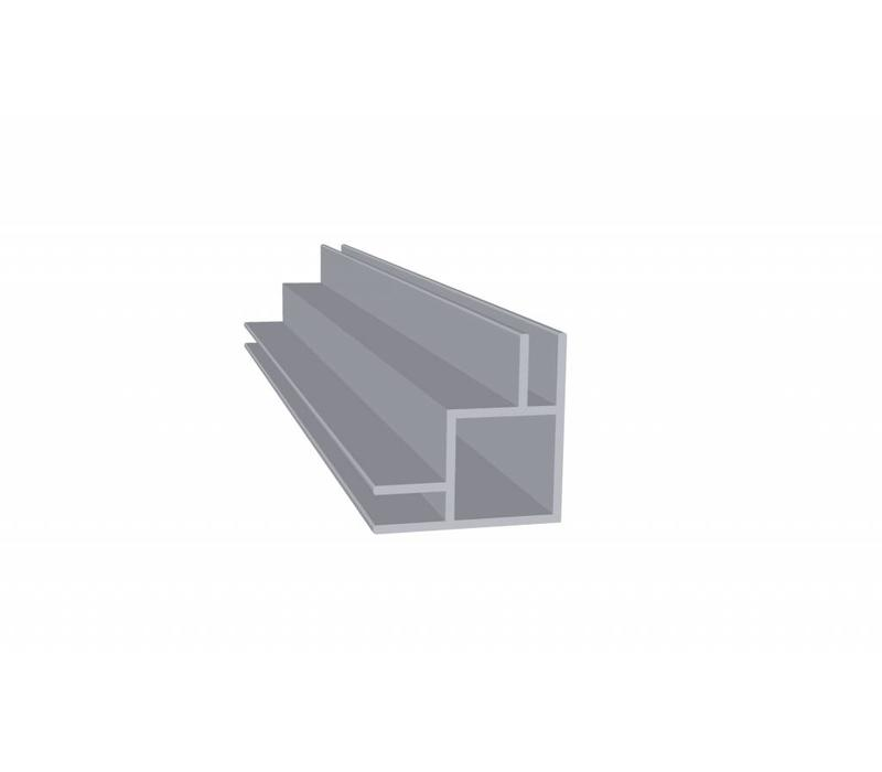 Aluminium Koker 20 x 20 x 1,5 mm - 2 Flens (buitenkant) 4mm - 30 meter in 3000 mm