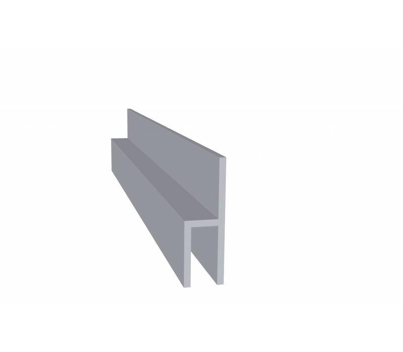 Aluminium Koker 38 x 12 x 20 1,5 mm - h Profiel (Stoeltjesprofiel) - 108 meter in 6000 mm
